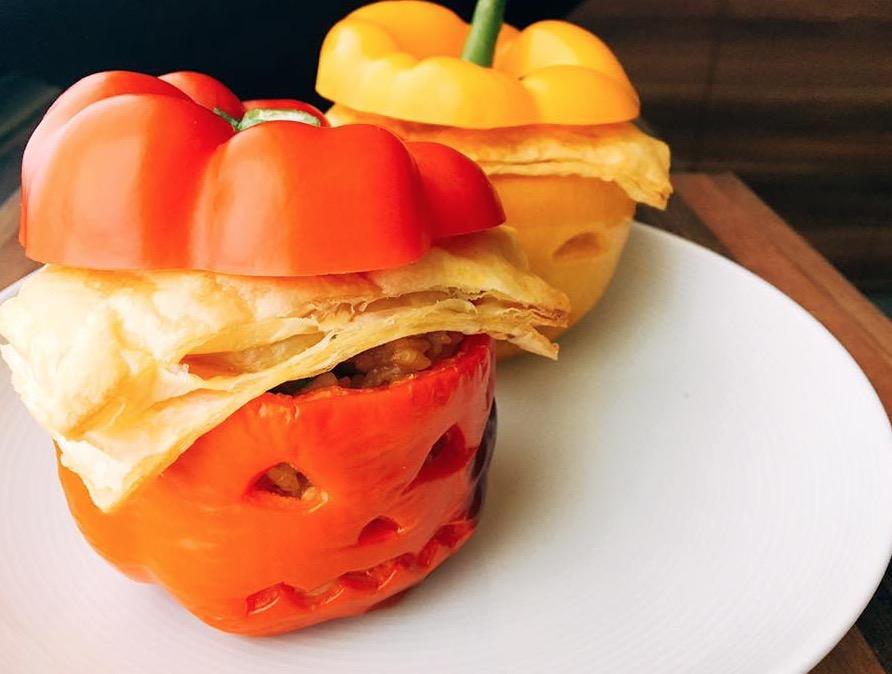 甜椒起司咖喱飯盅-南瓜造形